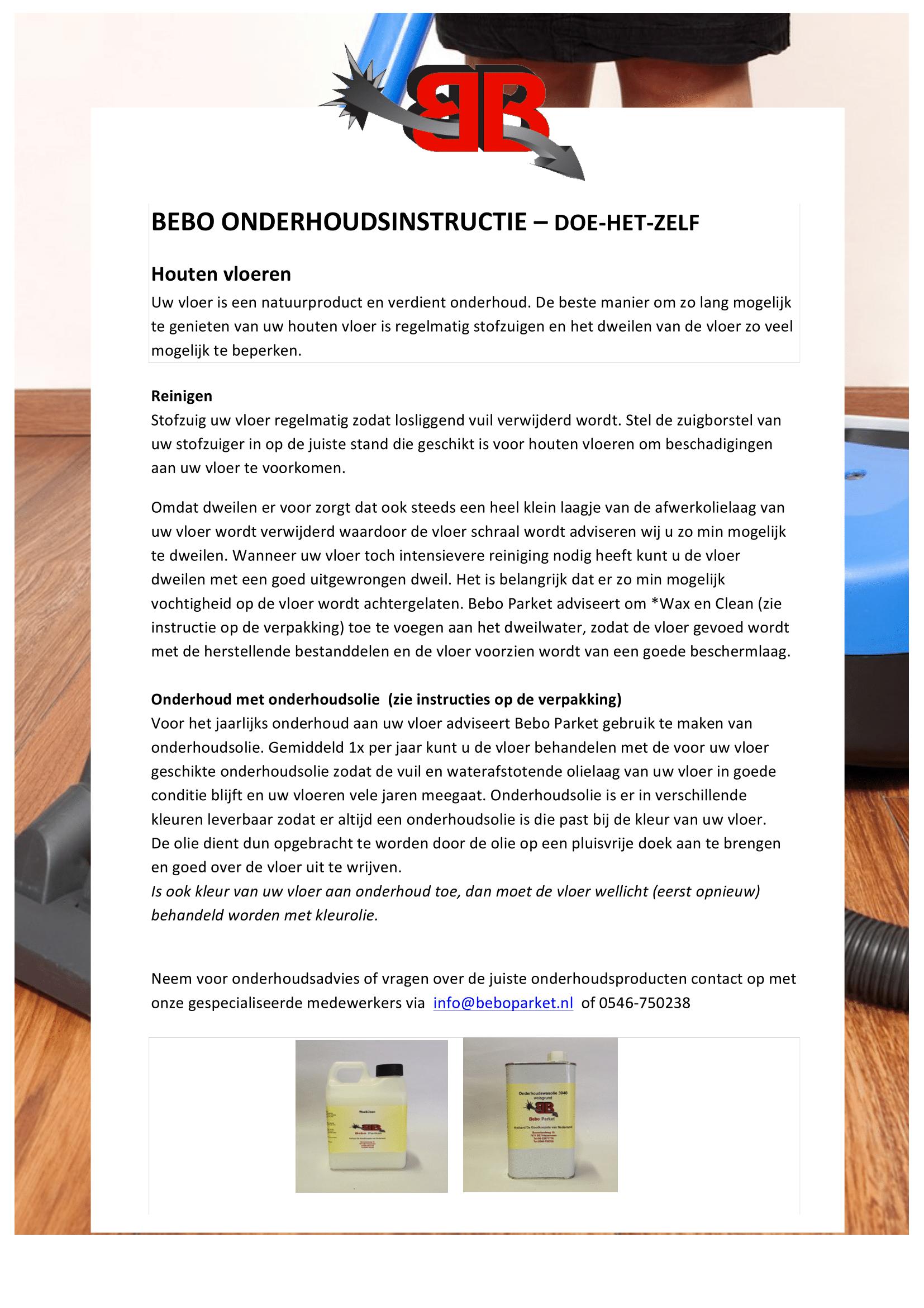 Bebo instructies - Onderhoudsinstructie Hout 1.2-1