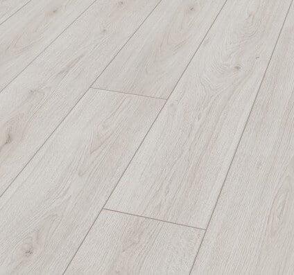 wit laminaat brede plank zonder v groef en voelbare houtstructuur 8 millimeter dik
