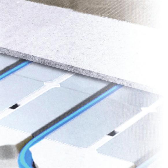 Isolerende droogbouw vloerverwarming elementen met banen met warmtegeleidende aluminium lamellen